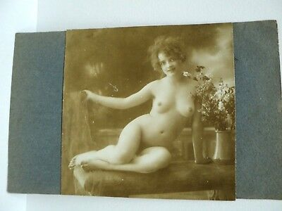 Vintage Carte Photo Modifiee Erotisme Magnifique Nu  Sepia Annees 1910