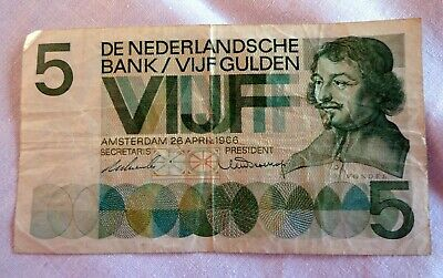 Vijf (5) Gulden 26 April 1966 Nederland - Vondel