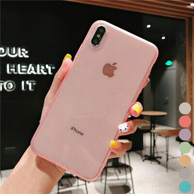 Glossy Clear Back Matte Bumper Soft TPU Case Cover For iPhone XS Max XS XR X 8 7