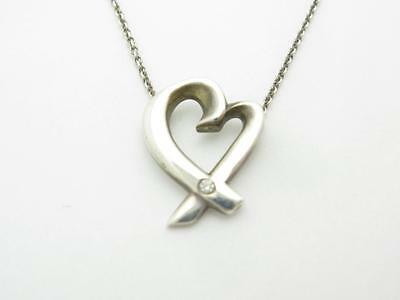 Pre-Owned Vintage Tiffany & Co. Diamond Open Heart Necklace With Chain Gift