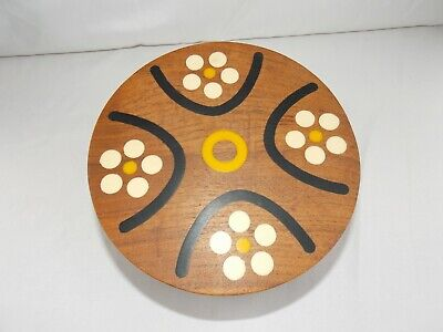 Vtg Mid Century Gladmark California Wood Bowl Box Inlaid Lid Desk Vanity USA