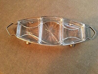 Vintage Silver and glass savouries tray