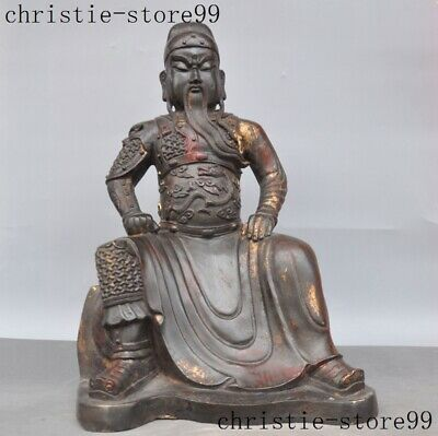 "18"" Chinese Ancient bronze Gilt Character Guan Gong Guan Yu Warrior God Statue"