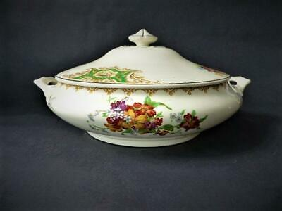 Art Deco Era, Crown Ducal Round Tureen c 1925 +  Floral Decoration Creamware