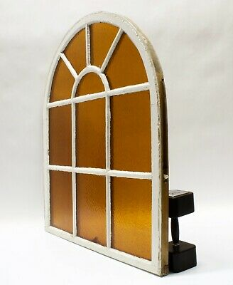 Antique Arched Dome Top Stained Glass Window Sash Shabby Chic 34 3/4 x 40""