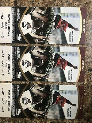 2019 Indy 500 tickets Tower Terrace Section 42 Row V (Seats 2, 3, & 4) 3 Tickets