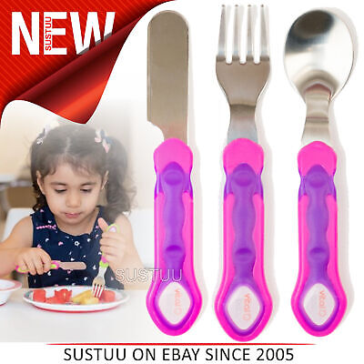 Vital Baby Stainless Steel Cutlery Set│Kids Feeding set│Knife,Fork & Spoon│Pink