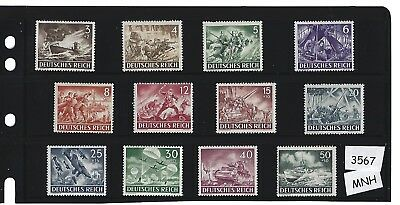 #3567   Complete MNH stamp set / Nazi Military / Armed forces 1943 / Third Reich