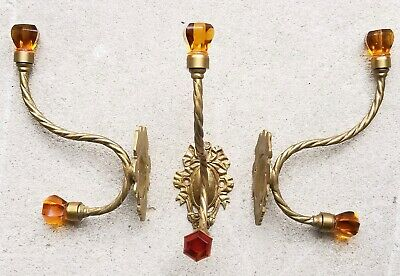 Lot (3) Vintage Ornate Solid Brass Amber Glass knobs Wall Mount Coat Hooks