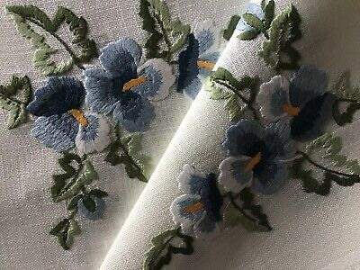 Beautiful Vintage Hand Embroidered Tablecloth ~ Blue Pansies