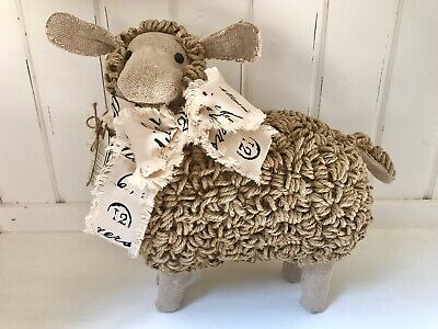 "~ 12"" Sheep Farmhouse Burlap Jute Lamb Statue Figurine Decor Primitive NEW ~"