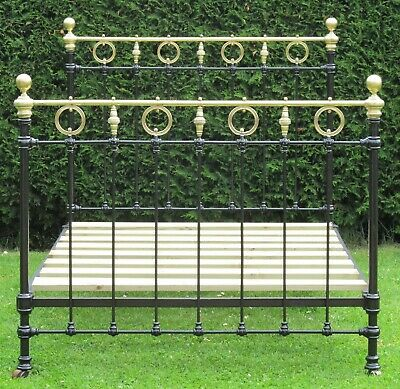 Pretty Victorian Brass and iron Small Double ( 4 feet wide ) Bed & Base