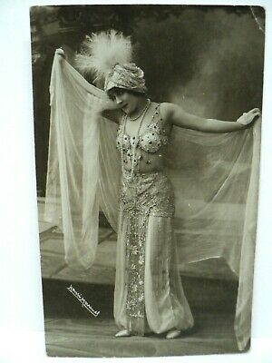 Vintage Cpa Carte-Photo Rppc  Danseuse  Belly Dancer A Identifier  1921