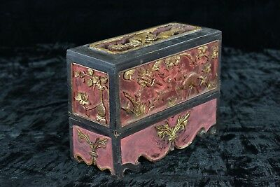 Antique Chinese Red & Gilt Wood Carving / Altar Box / Stand, Qing, 19th c