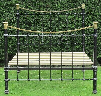 Victorian Brass and iron Standard Double Bed with Pine Base