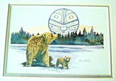 WATERCOLOR PRINTS signed by Sue Coleman Bear with Cubs & Loon Shadow