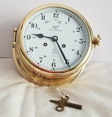 Schatz 8 Day 1881 Royal Mariner Brass Ships Bell Clock w/key