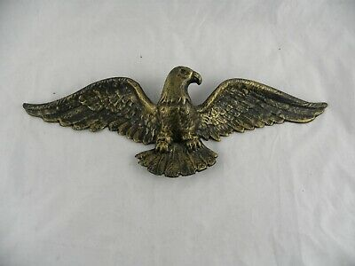 "Vintage Black & Gold Cast Metal 16"" American Bald Eagle Wall Hanging"