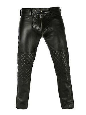 Mens Leather Jeans Pant Trouser Biker Gay  Black  Contrast Chaps