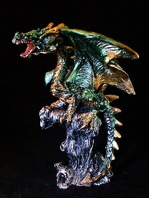 """Dragon Figurine: Game Of Thrones Style Mini Resin Statue 4"""" GREEN & GOLD"""