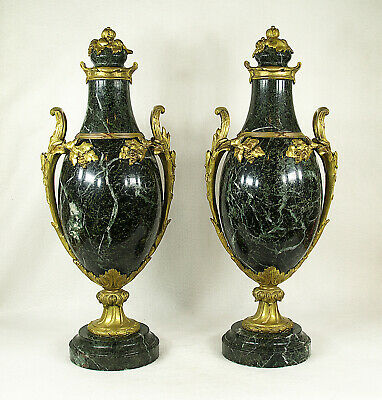 Antique French Pair of French Gilt Bronze & Marble Cassolette Urns