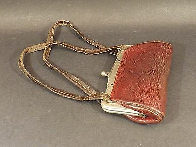 Vintage ~Antique / Edwardian ~Small Leather And Chrome Evening Purse & Farthings