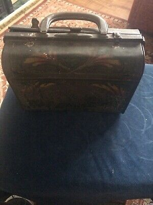 Early American Art Nouveau Arts And Crafts Tin Lunchbox
