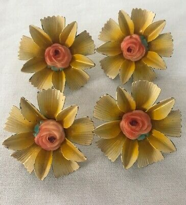 4 Vintage Curtain Holder Tie Back Metal Push Pin Painted Floral