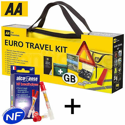 AA France European Travel Kit Car Emergency Warning Triangle Breathalysers
