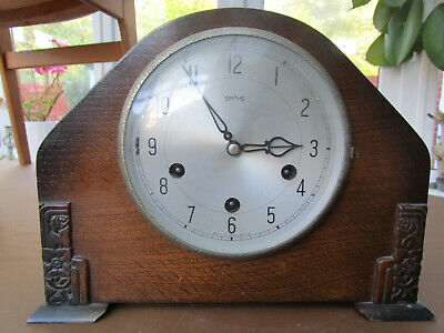 Smith's wooden mantle clockwork Westminster chime clock with original guarantee