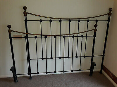 Black Metal Bed Frame Vintage Look Brass Bedknobs King Size HeadBoard Surround