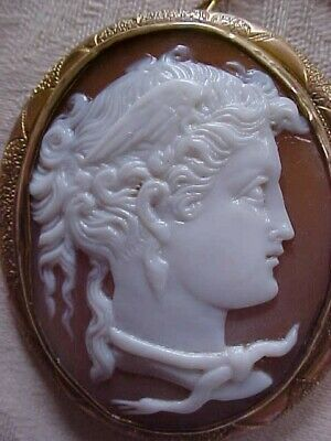 Antique Helmet Shell SUPERIOR Carving NIKE GODDESS OF VICTORY Cameo Brooch