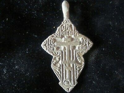 AUTHENTIC LATE MEDIEVAL BRONZE CROSS PENDANT - WEARABLE - 800 years old