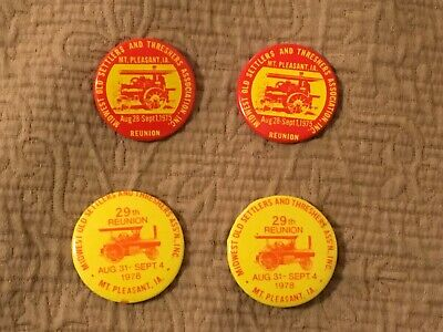 Midwest Old Settlers and Threshers Pinback Button Pins Lot 1975 1978 26 29 Iowa