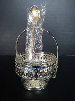PRISTINE Vintage ARCOROC France Silver Plated, GLASS CAVIAR SET w/ Serving Spoon