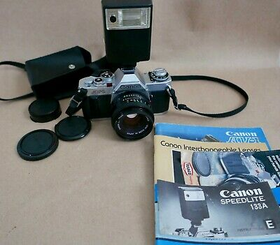 Canon AV-1 W/ 50mm F1.8 Lens, Flash, Strap, Caps, Film Tested, See Photos Exc++
