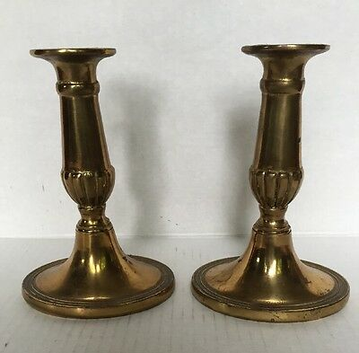"""Antique Old Solid Brass Mantle Candlesticks Candle Holders 6"""" Signed England"""