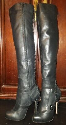 Topshop Parisian Thigh High Stiletto Heel Boots 9.5 Black Leather Laceup Back