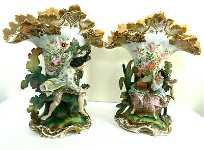 Antique 19c French Rococo Pair of Vases Porcelain Bisque 1800s Intricate details
