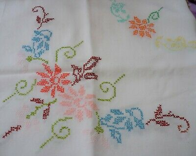 "Vintage Tablecloth Hand Embroidered Cross Stitch Floral Cream Linen 41"" x 38"""