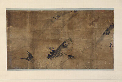 "JAPANESE HANGING SCROLL ART Painting ""Carp"" Kano School Asian antique  #E7357"