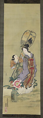 "JAPANESE HANGING SCROLL ART Painting ""Beauty"" Asian antique  #E7365"