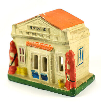 Rare 1930s Lighted Christmas Decoration Gas / Service Station Very Cool Japan