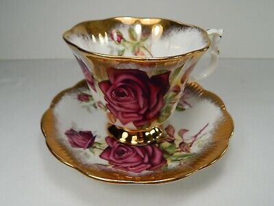 Royal Albert Large Rose Heavy Gold Gainsborough Shape Cup and Saucer.