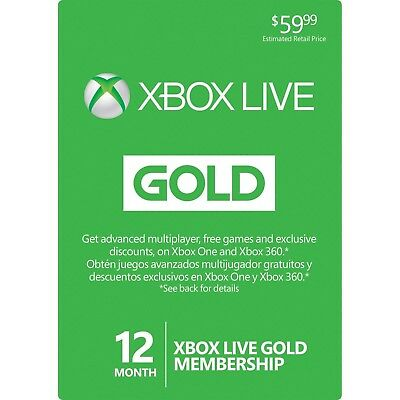 Microsoft Xbox Live 12 month gold membership Xbox One Xbox 360 Digital Code