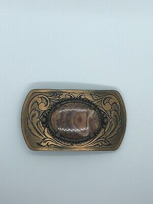 Vintage Western Bronze Belt Buckle With Polished Brown And Red Stone