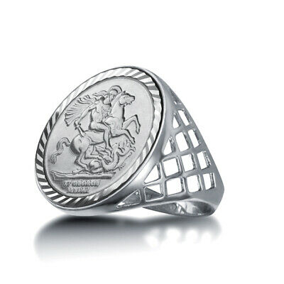 Jewelco London Sterling Silver St George Dragon Slayer Half-Sovereign-Size Ring