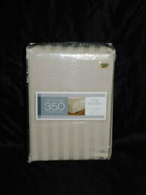 Bed Bath & Beyond Taupe Brown King Bedskirt Stripe Tailored Split Corners NEW