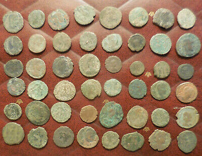 Lot of 48 Ancient Late Roman Coins, Largest 23 mm and all have Details!
