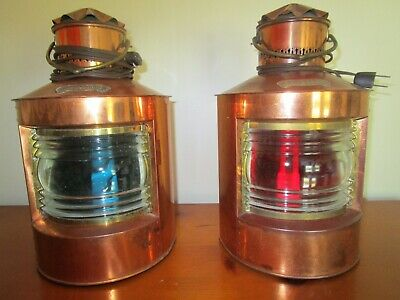Pair of Vingage D.H.R.Copper and Brass Nautical Electric Lamps